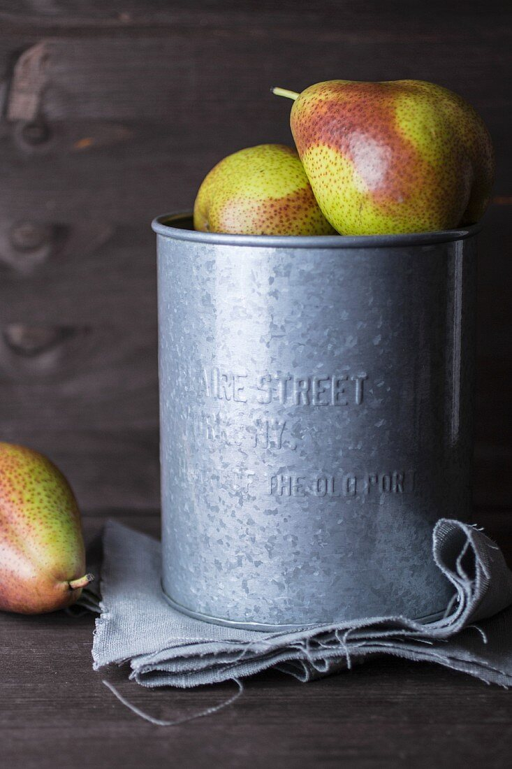 Pears in a zinc bucket