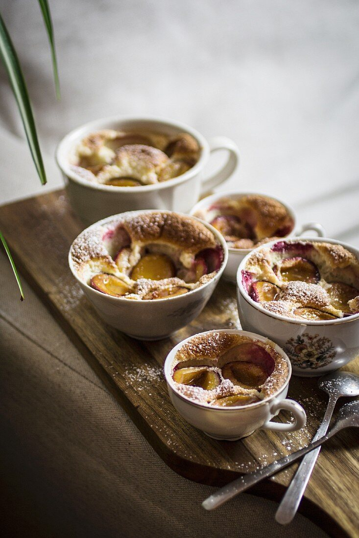 Clafoutis with marzipan and plums