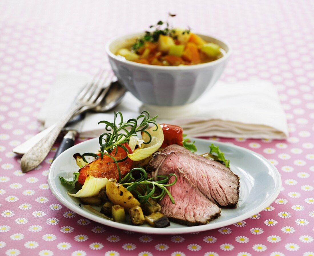 Steak strips with Mediterranean oven-roasted vegetables