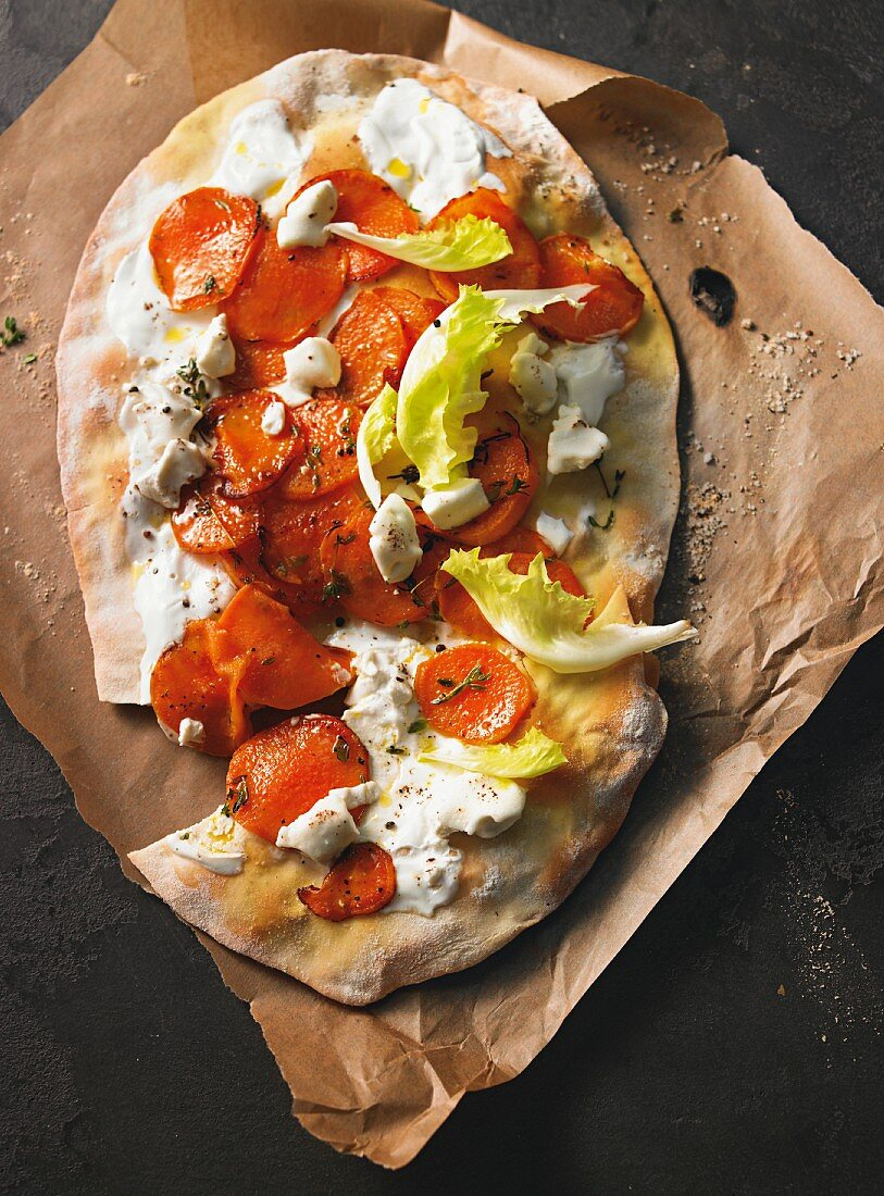 Sweet potato tarte flambée with goat's cheese
