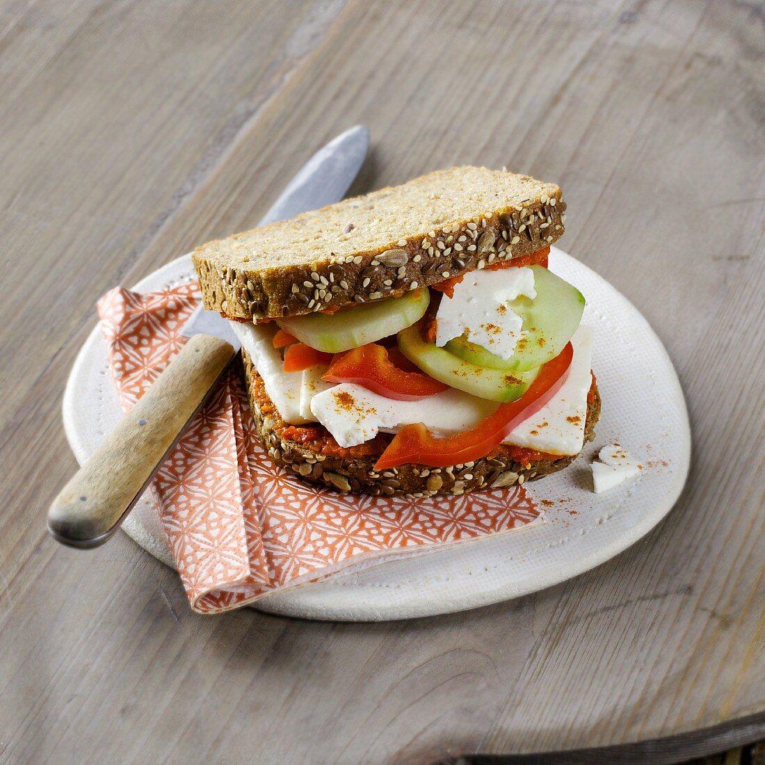 A 'Crete-style' pepper, feta cheese and cucumber sandwich
