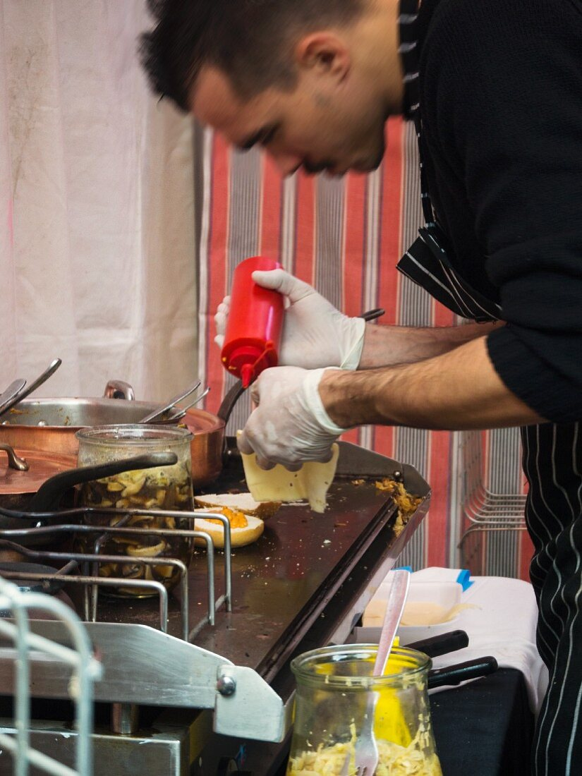 A chef in a food truck (Barcelona, Spain)