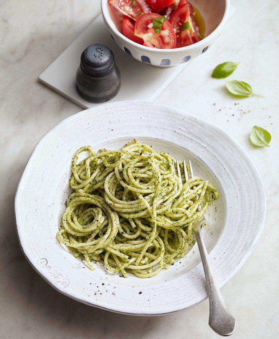 Spaghetti with parsley and hazelnut pesto