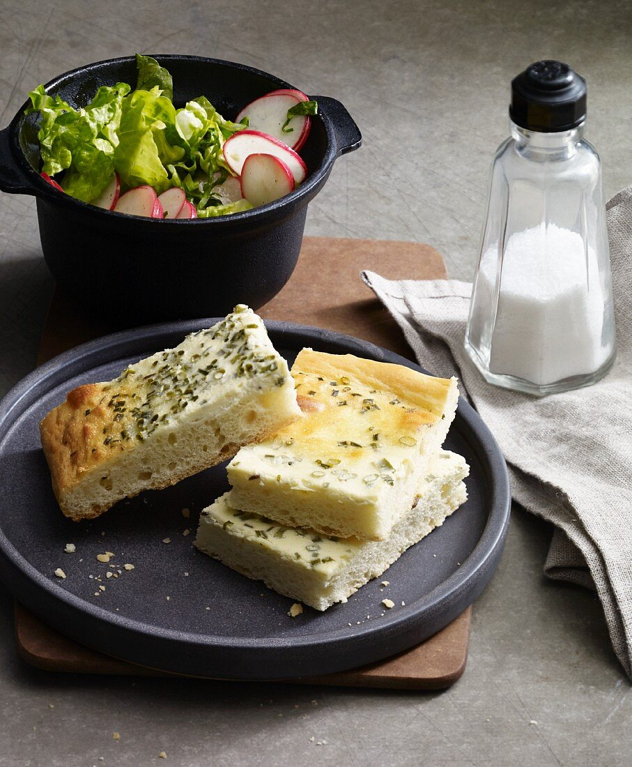 Spicy chive cream cake with a side salad
