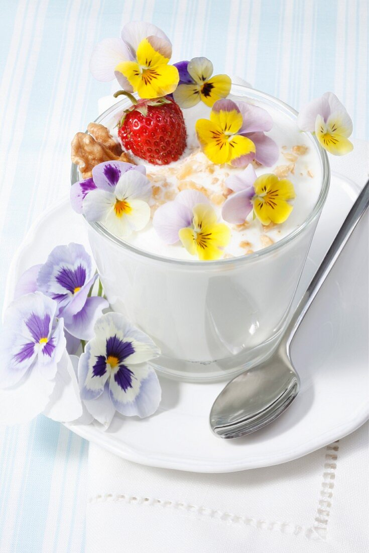 A quark dish with violets