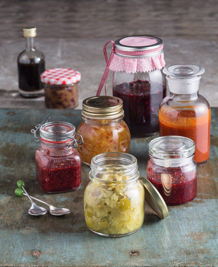 Various jars of jam and preserves