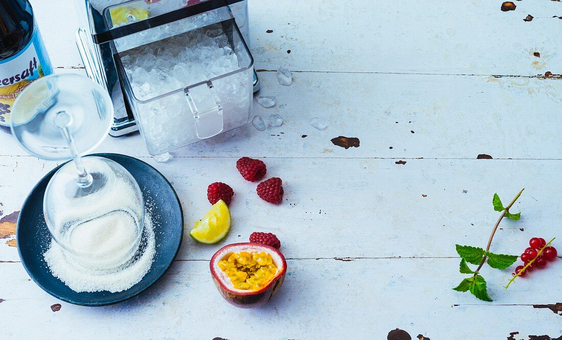Fruit, an ice crusher and sugar