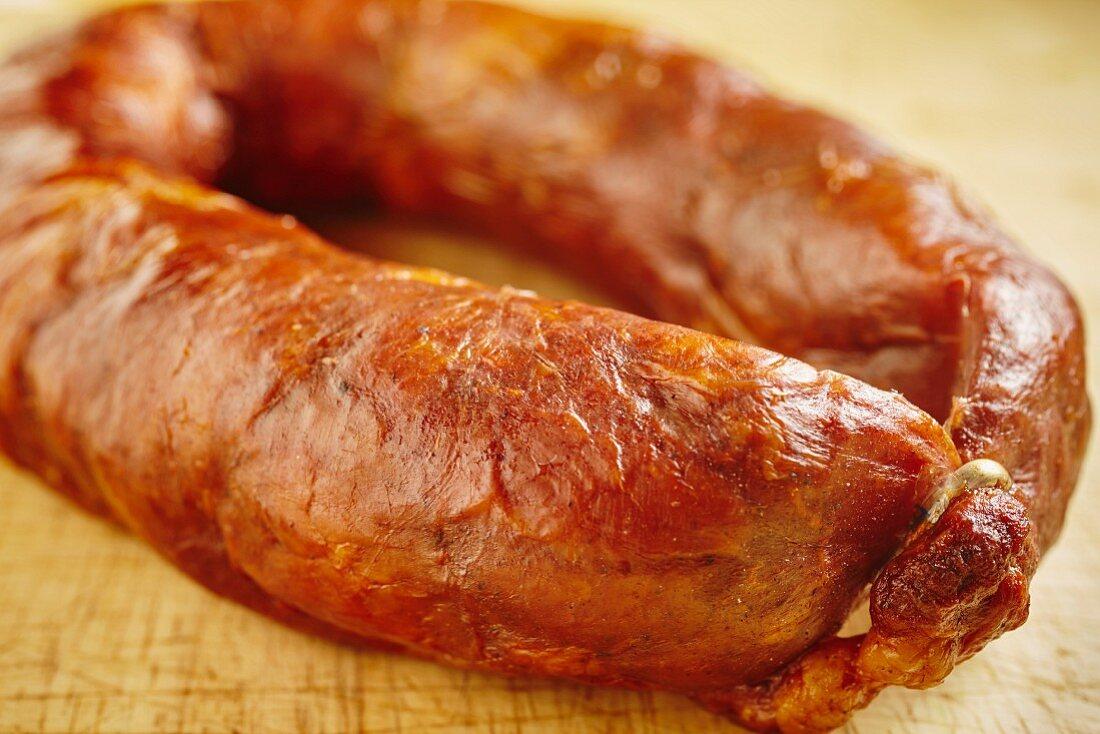 Chourico caseiro, a classic Portuguese sausage