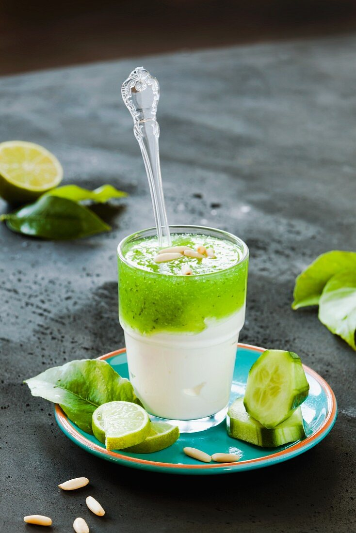 Yoghurt with cucumber, limes and pine nuts