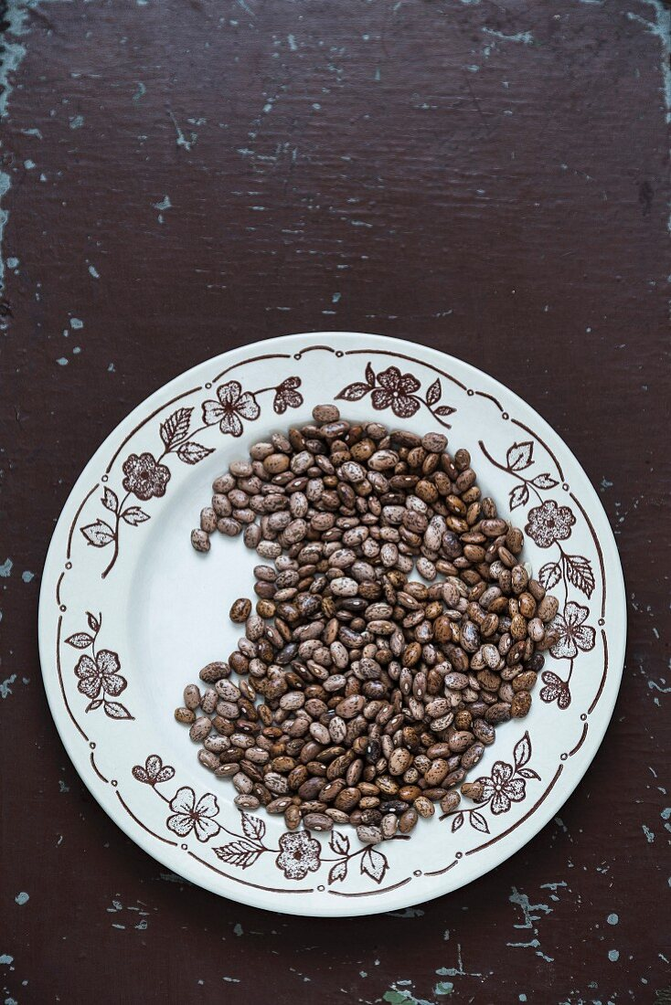 Brown speckled pinto beans on a ceramic plate