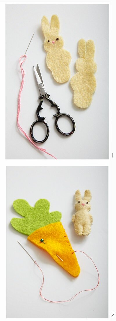 Easter decorations – bunnies and carrots being made from felt