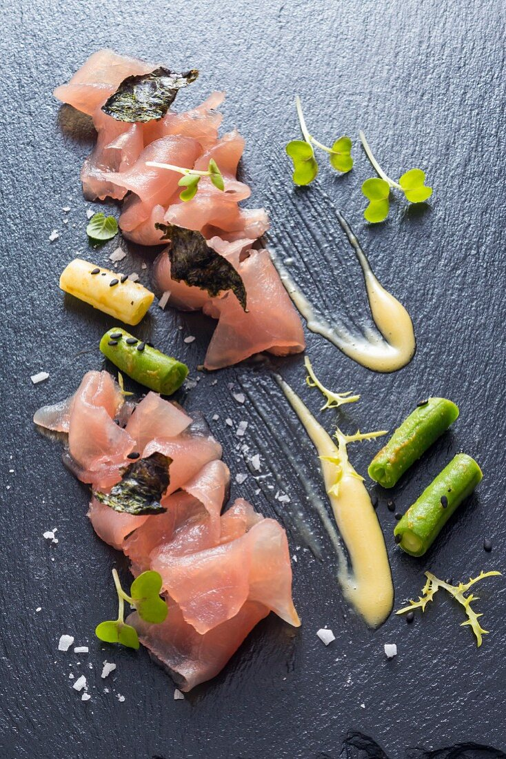 Tuna sashimi with wasabi