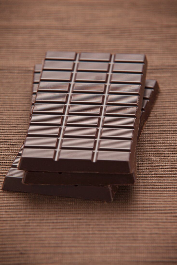 Three bars of dark chocolate