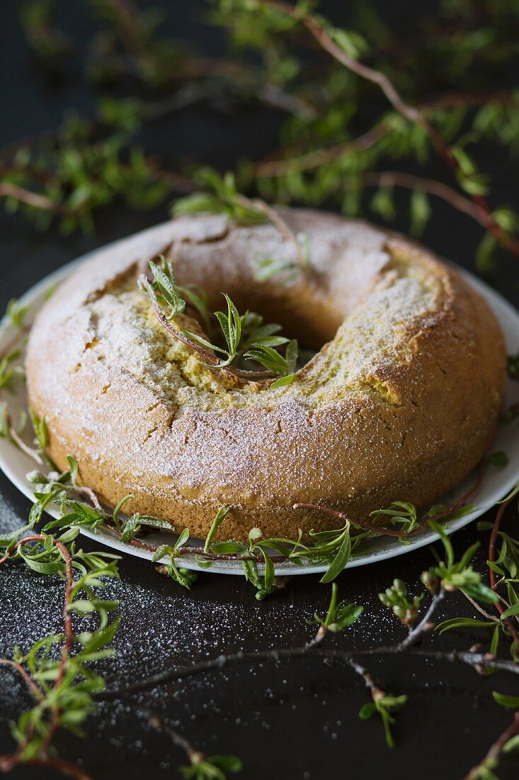 A simple Bundt cake dusted with icing sugar