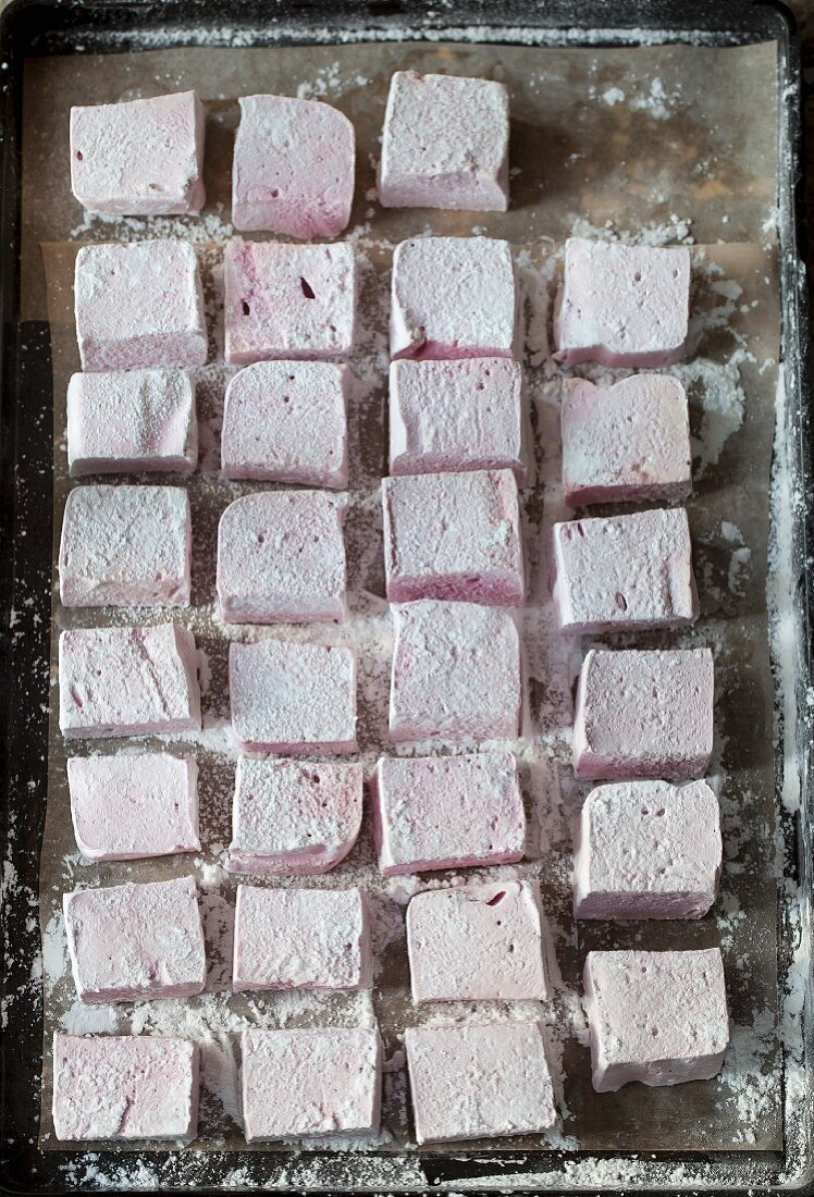 Blackberry marshmallows (seen from above)