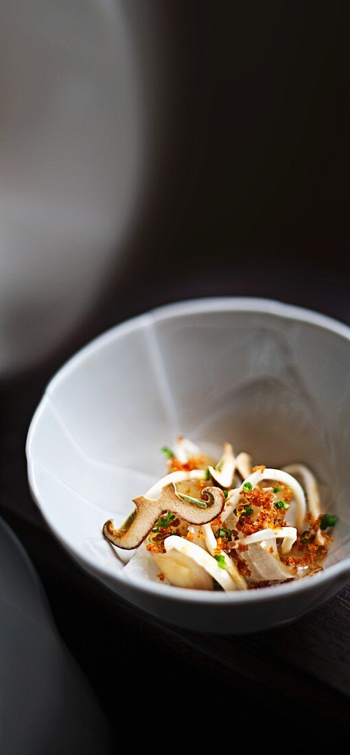 Marinated squid with a spring onion and miso paste, celery and daikon radishes