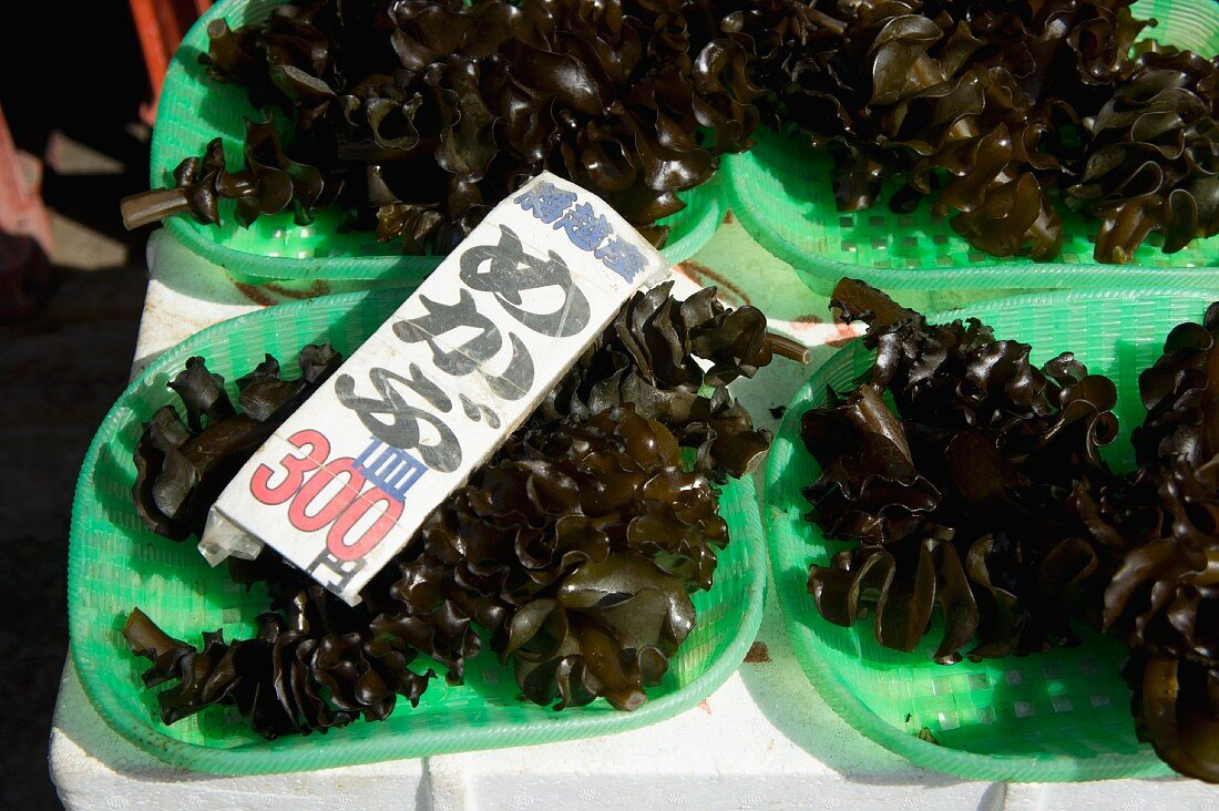 Wakame seaweed in dishes