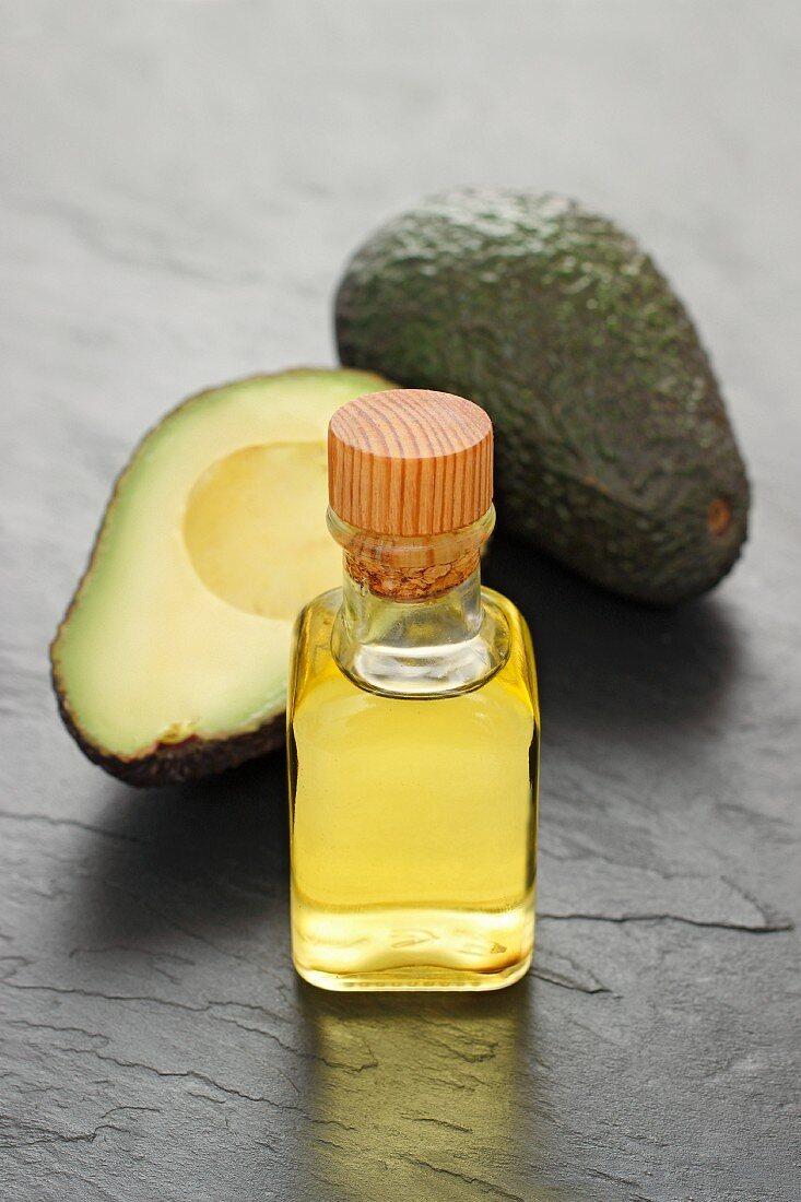 Avocado oil and fresh avocados