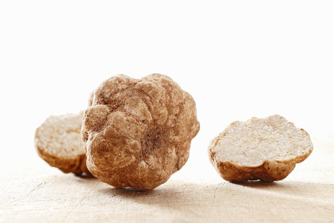 White truffles, whole and halved