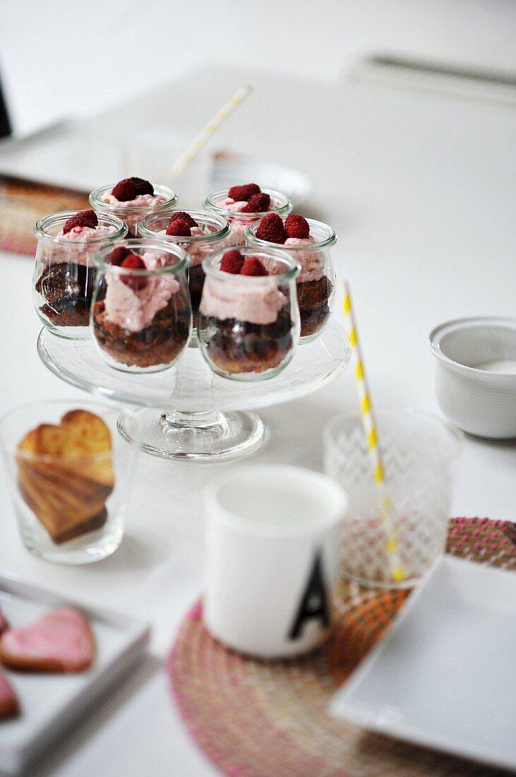 Raspberry dessert in glasses