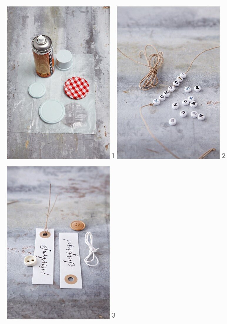 Spray painted lids and homemade tags for preserving jars