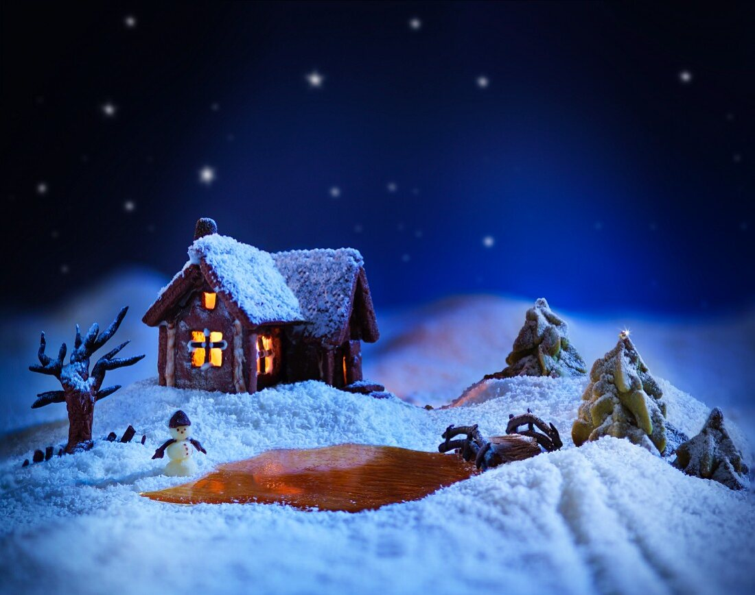A winter landscape made from sugar with a gingerbread house