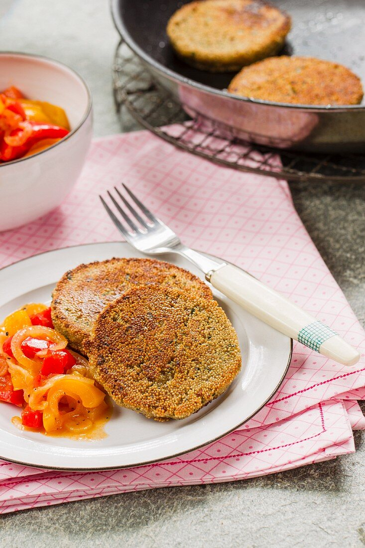 Vegan amaranth cakes with a pepper medley