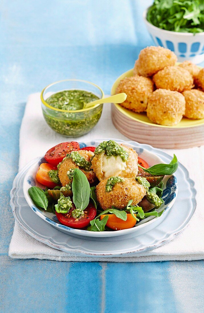 Crispy bocconcini with tomato salad