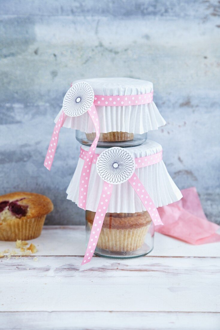 Homemade raspberry muffins in jars as a gift