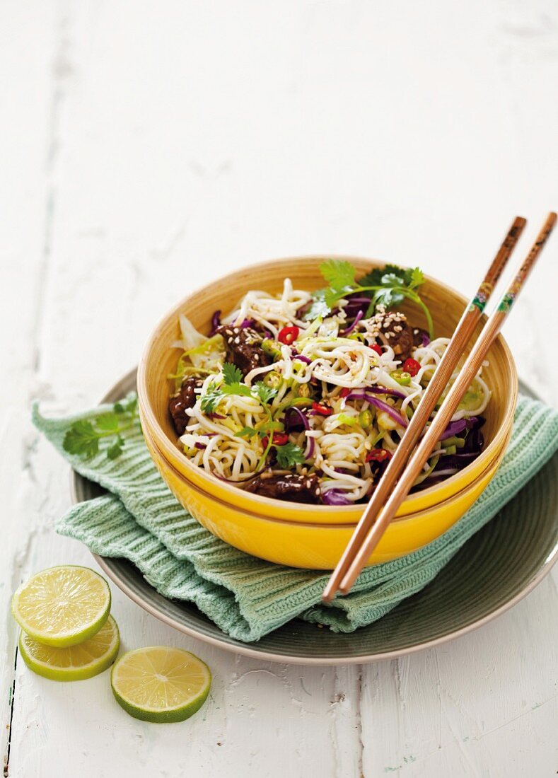 Noodles with hoisin sauce and ostrich