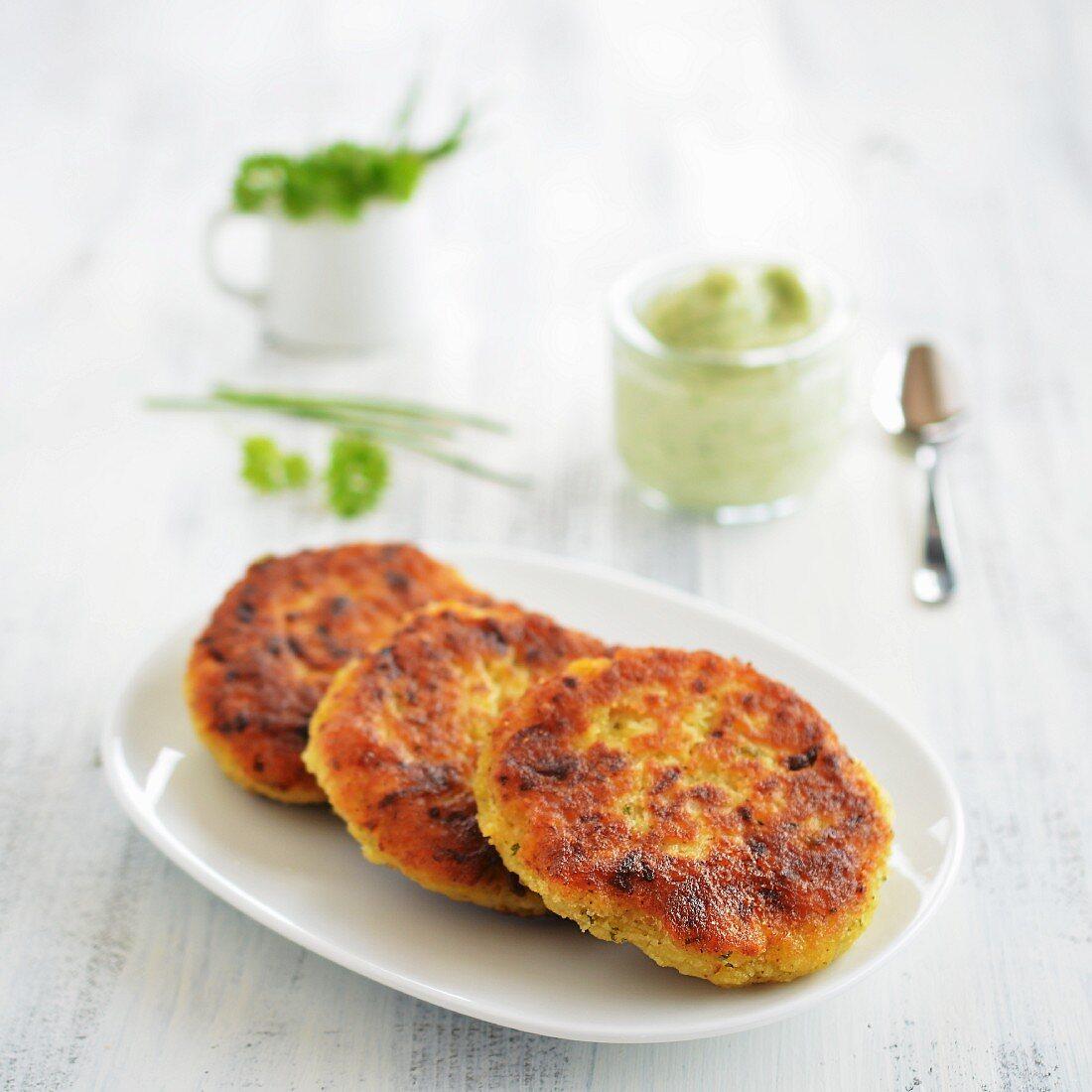 Vegetarian millet burgers with kohlrabi and herbs
