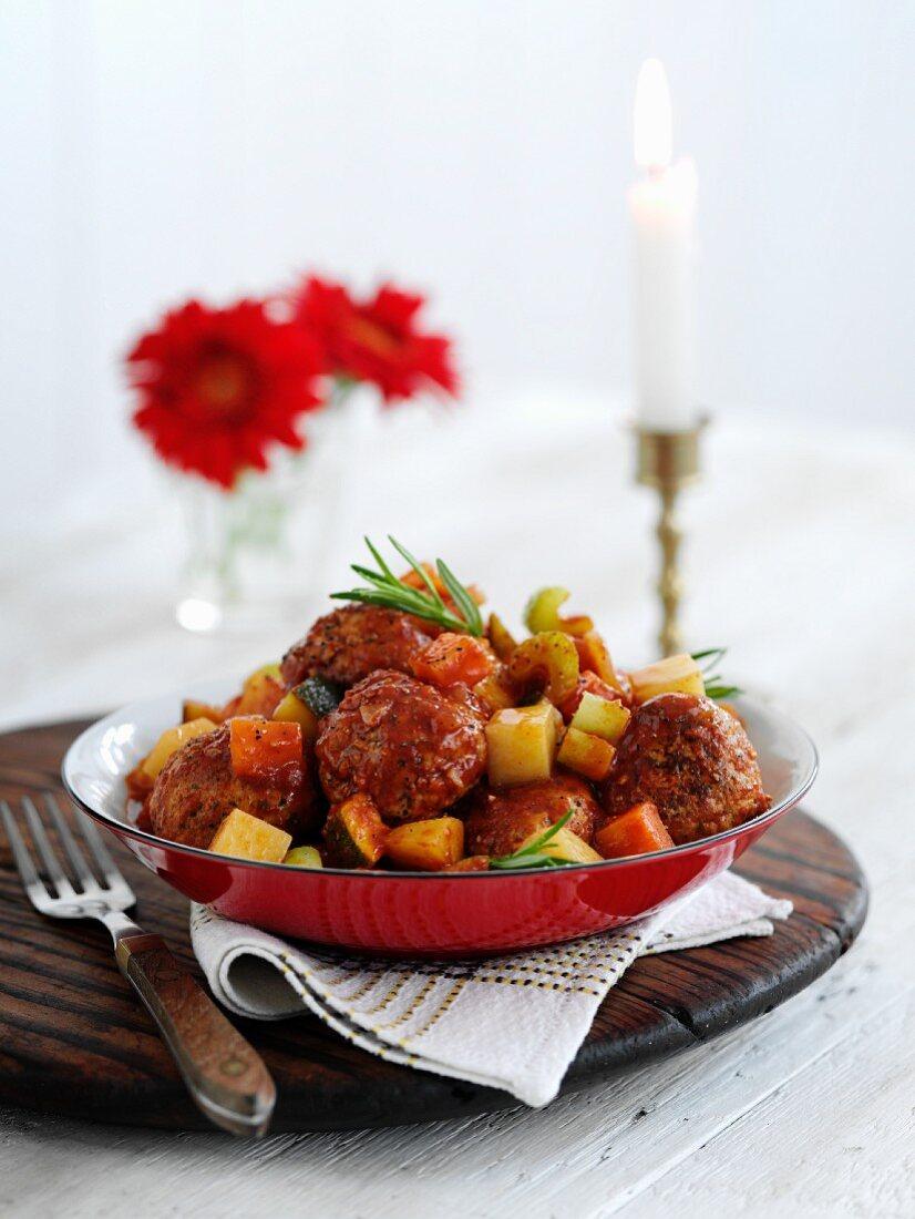 Braised pork meatballs with vegetables