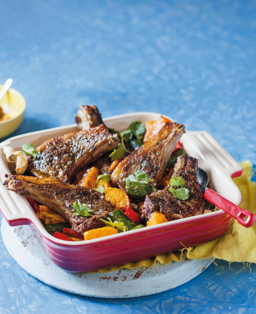 Moroccan-style lamb chops with oven-roasted vegetables