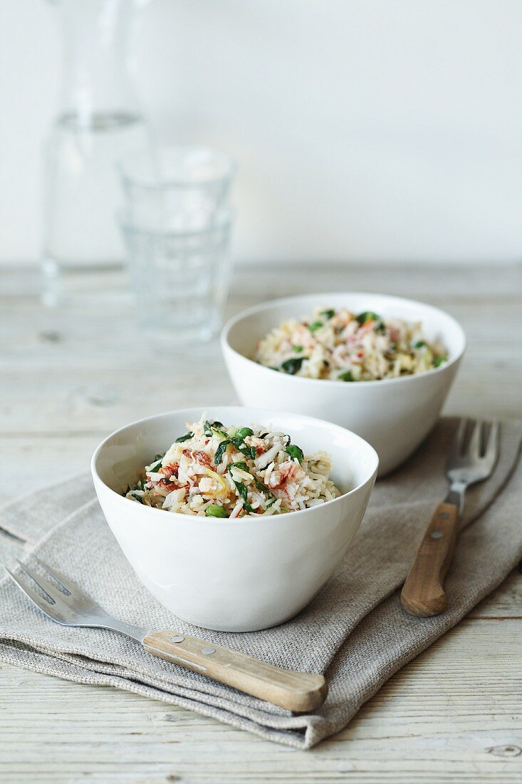 Fried rice with vegetables and crab meat