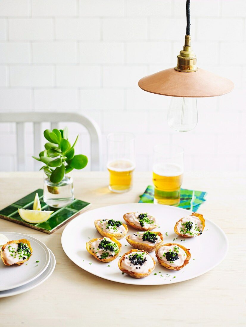 Potato skins with whipped cod roe