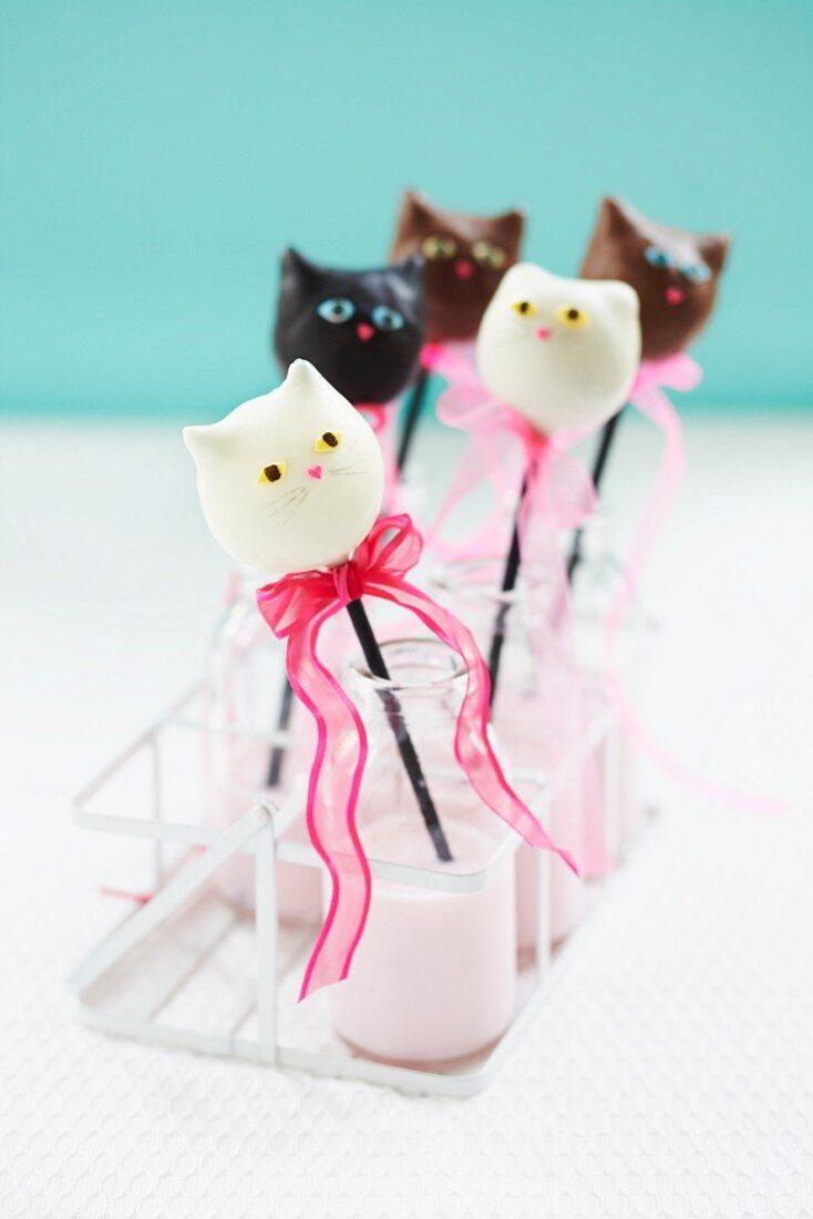 Cat cake pops in old fashioned milk bottles