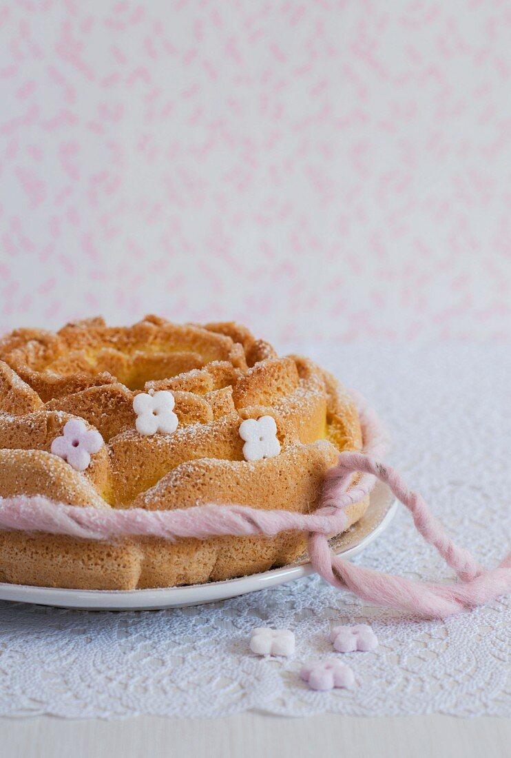 Biscuit De Savoie (French sponge cake) with sugar flowers
