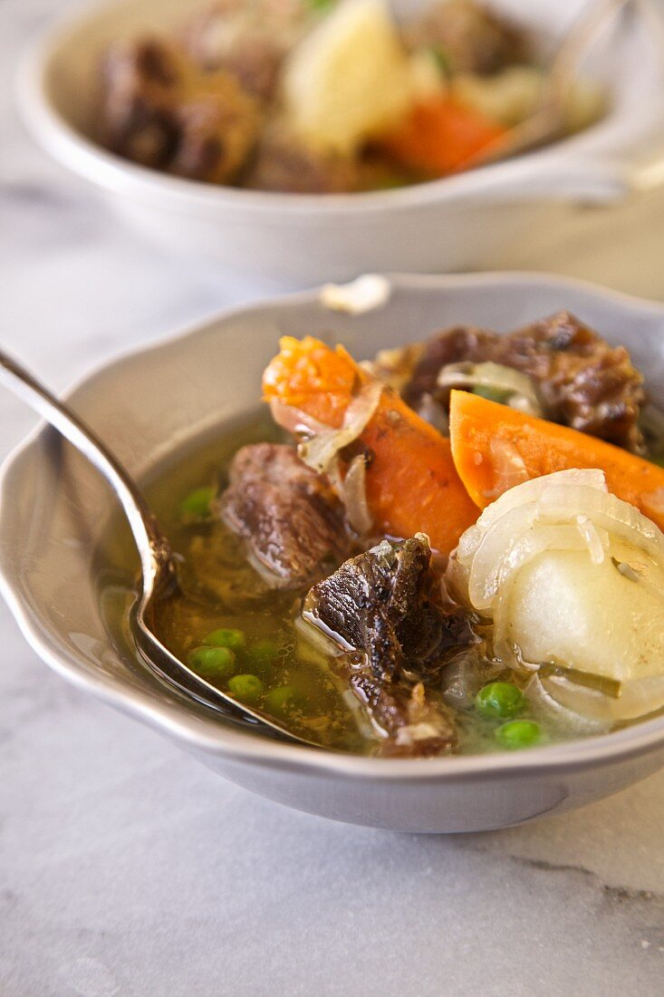 Irish Stew with lamb shoulder, potatoes, carrots, onions and peas (Emerald Isle, Ireland)