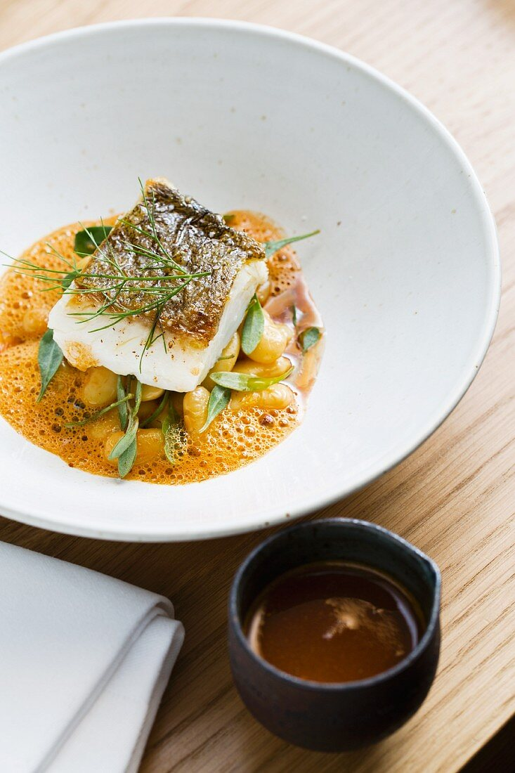 Whitefish with white beams, bouillabaisse and bouchot muscles at the restaurant Les Déserteures, Paris