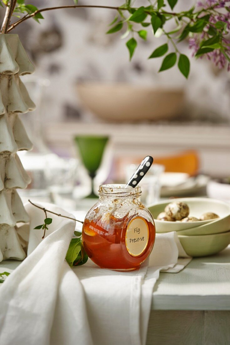 Fig jam on a white wooden table