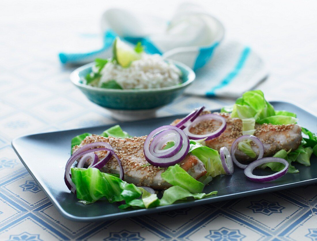 Chicken breast with sesame seeds, onions, pointed cabbage and rice