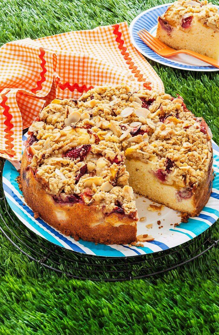 Strawberry and peach crumble cake