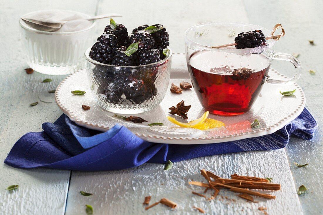 Mulled wine with blackberries