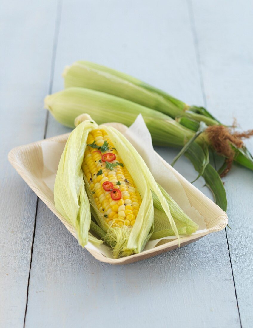 Corn on the cob with coriander butter and chilli