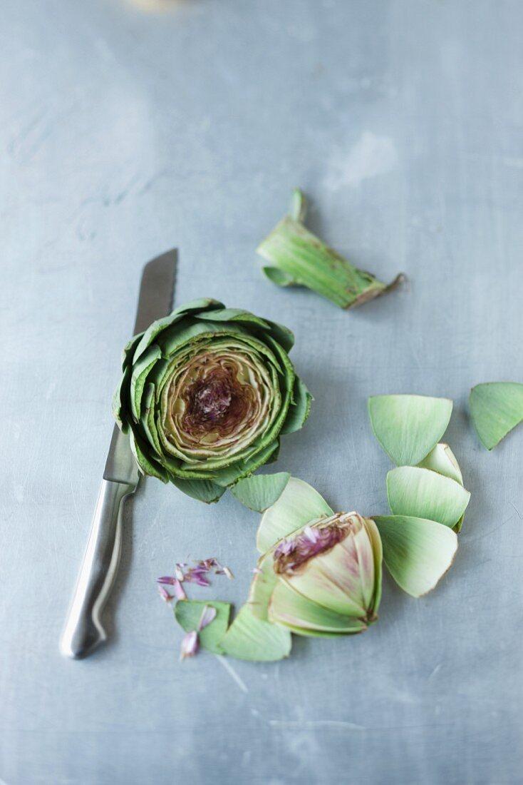 A sliced artichoke