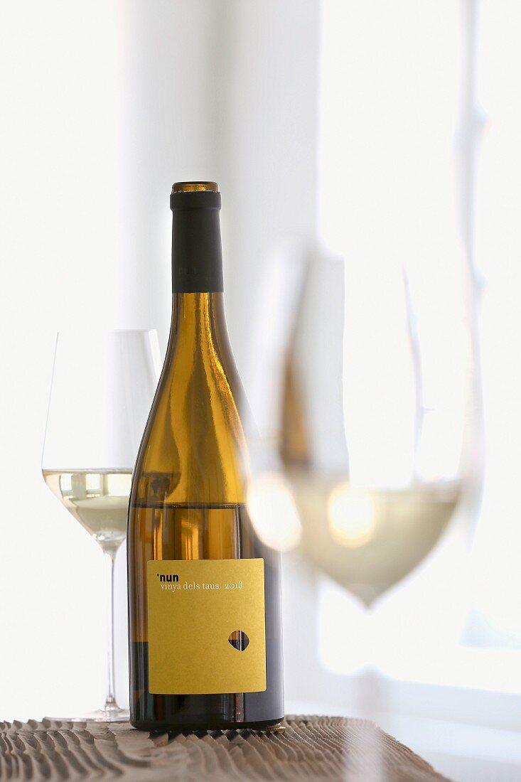 A bottle of 2013 Nun Vinya dels Taus (Spanish white wine)