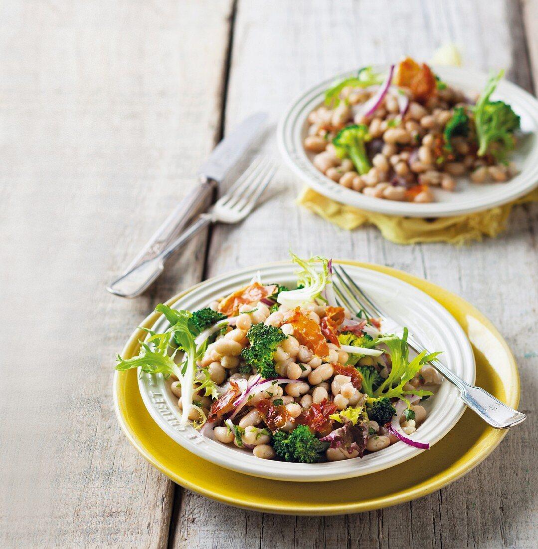 Cannellini bean and broccoli salad with crispy Parma ham