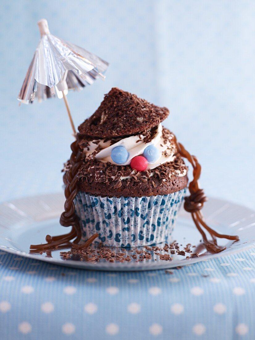 A funny children's cupcake