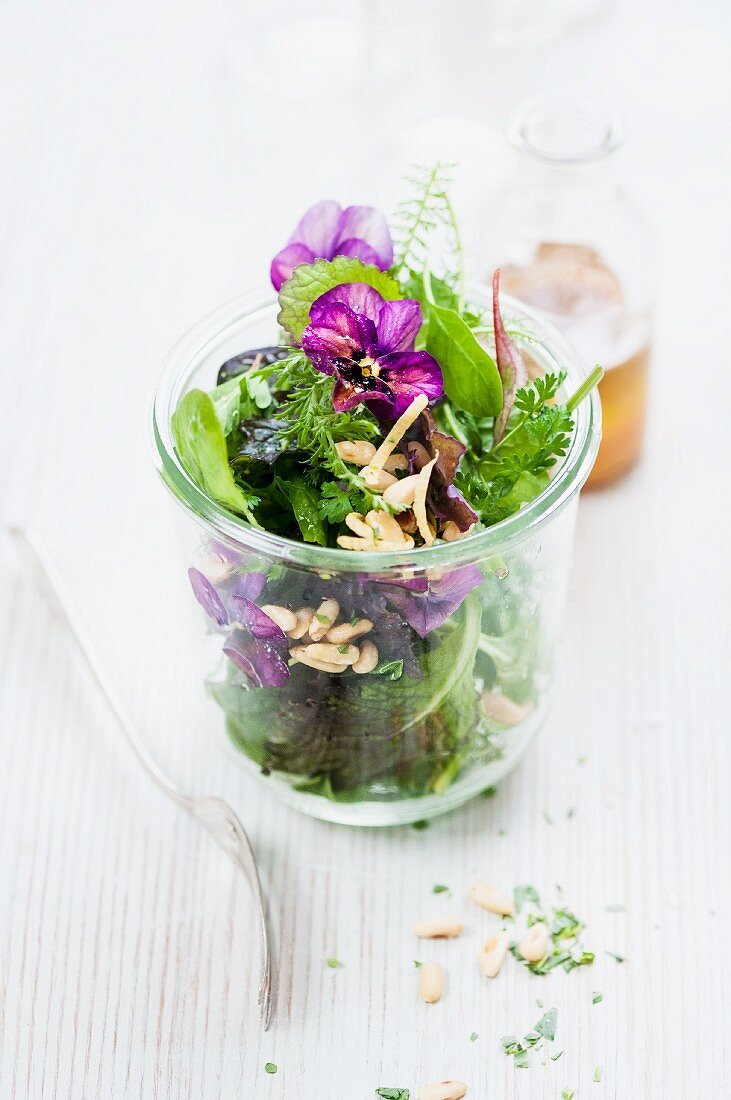 Herb salad with lettuce and acerola