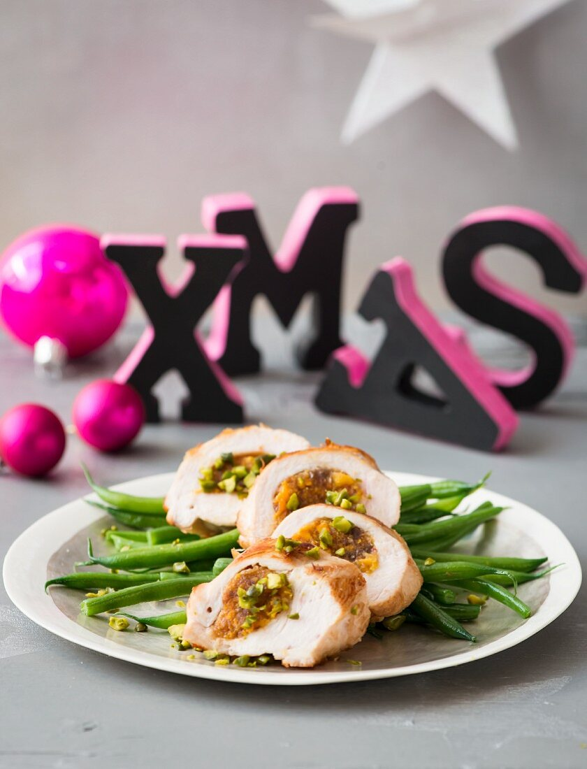 Stuffed chicken breast with pistachios for Christmas